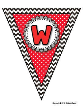 """""""We love fifth grade"""" banner and bunting in red, white, black, and gray"""