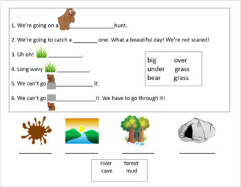 """We're Going on a Bear Hunt"" Vocab powerpoint and 2 worksheets"