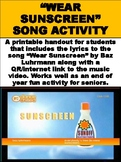 "FREE ""Wear Sunscreen"" Song Analysis Activity"