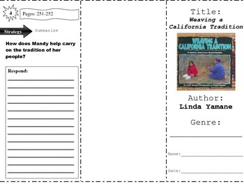 """""""Weaving a California Tradition"""" Comprehension Trifold (Storytown Lesson 9)"""
