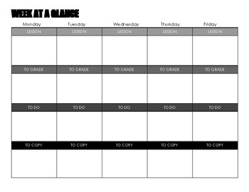 """""""Week at a Glance"""" weekly to do list"""