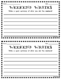"""Weekend Write"" Writing Activity"
