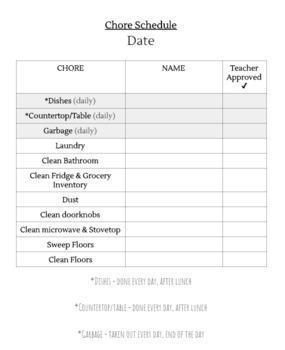 Weekly Chore List (Life Skills Class)