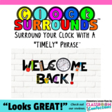 """""""Welcome Back"""" Clock Surrounds: A Clock Display with a Timely Phrase"""