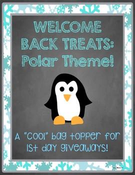 """Welcome Back"" Treats Tag - Polar/Winter Theme"