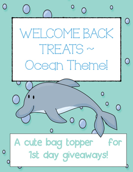 """Welcome Back"" Treats tag - Ocean Theme"