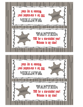 """Welcome Back"" Treats tag - Western Theme"