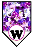 'Welcome' Pennant Banner, PANSY Flowers, Spring Theme, Bulletin Board Letters