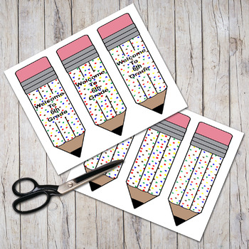 """Welcome To 6th Grade"" Patterned Pudgy Pencils Bookmarks"