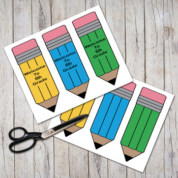 """Welcome To 6th Grade""  Pudgy Pencils Bookmarks"