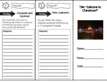 """""""Welcome to Chinatown!"""" Comprehension Trifold (Storytown Lesson 25)"""