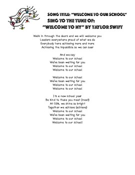 """Welcome to Our School"" to the tune of 'Welcome to NY"" by Taylor Swift"