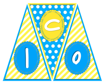 """""""Welcome to __ Grade"""" Pennant Banner - Sky Blue and Sunny Yellow Color Scheme"""
