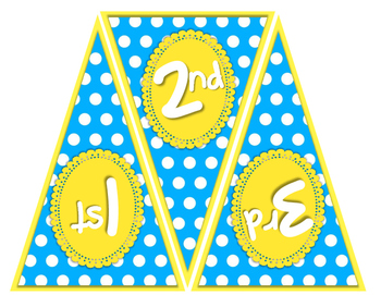 """Welcome to __ Grade"" Pennant Banner - Sky Blue and Sunny Yellow Color Scheme"