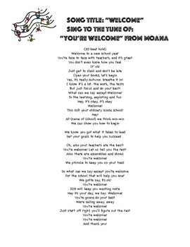 """Welcome"" to the tune of ""You're Welcome"" from Moana"