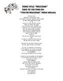 """""""Welcome"""" to the tune of """"You're Welcome"""" from Moana"""
