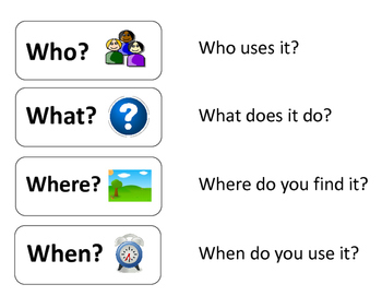 """Wh"" Questions Chart for ""Mystery Object"" Activity"