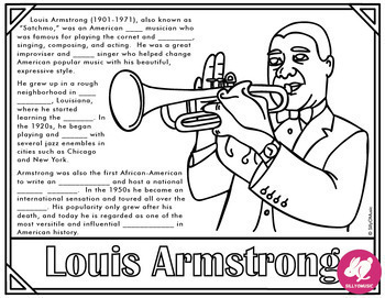 "Louis Armstrong ""What A Wonderful World"" Coloring Pages, Word Search"