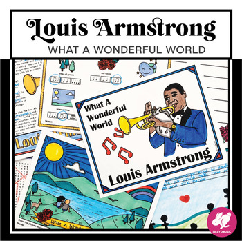 """Louis Armstrong """"What A Wonderful World"""" Coloring Page, Wo"""