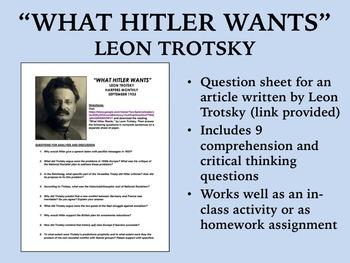 """What Hitler Wants"" - Leon Trotsky - World War II - Global/World History"