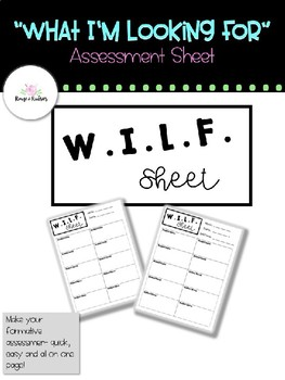 """""""What I'm Looking For"""" Assessment Sheet"""