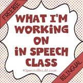 """What I'm Working on in Speech Class"" in English and Spanish {Bilingual}"