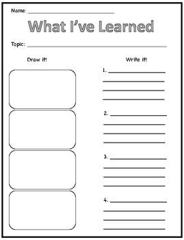 'What I've Learned' worksheet