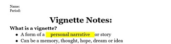 'What Is A Vignette?' Notes - Answer Key