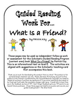 """What Is a Friend?"" Guided Reading Work"