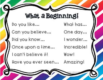 """""""What a Beginning"""" Sentence Starters"""