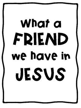 """""""What a Friend We Have in Jesus"""" Bulletin Board FREEBIE!"""