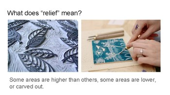 """What a Relief!"" Relief printmaking presentation and art activity"