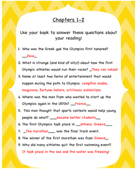"""What are the Summer Olympics?"" by Gail Herman Questions/Student Journal"