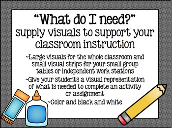 """""""What do I need?"""" - supply visuals to help support classroom instruction"""