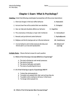"""""""What is Psychology?"""" Unit 1 Exam"""