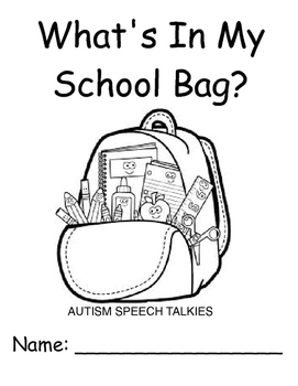 """""""What's In My School Bag""""? Back to school workbook and questions"""