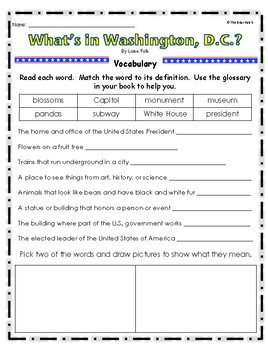 """What's in Washington, D.C.?"" Guided Reading Program Work"