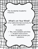 """What's on Your Mind?"" Back-to-School Activity!"