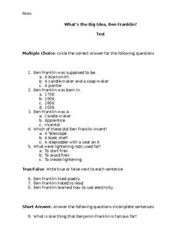 """What's the Big Idea, Ben Franklin"" Comprehension Test"
