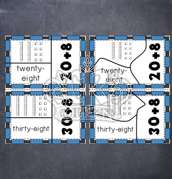 2 Digit Place Value Puzzles in Word Form, Expanded Form & Base 10 Blocks