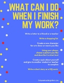 """What to do when I finish my work?"" Poster for Teens or Pre-teens"