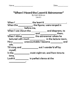 """When I Heard the Learn'd Astronomer"" Memorization Worksheets"