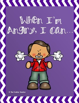 """When I'm Angry, I Can..."" Calm Down Strategies Flip Cards in Color AND BW"