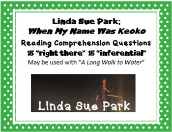 """When My Name Was Keoko"" Linda Sue Park; 30 comprehension questions"