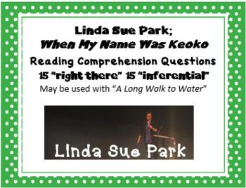 """""""When My Name Was Keoko"""" Linda Sue Park; 30 comprehension questions"""
