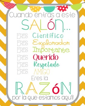 """""""When you enter this classroom""""... motivational printable (Freebie!) SPANISH"""