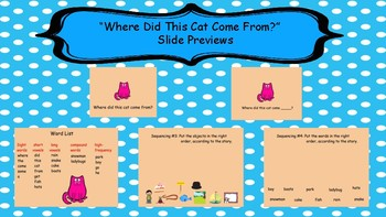 """Where Did This Cat Come From"" Fluency Activity SmartBoard Emerging readers"