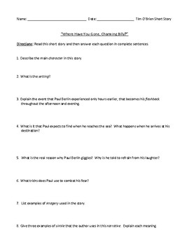 """""""Where Have You Been, Charming Billy?"""" Assessment/Worksheet and Answer Key"""