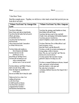 Where Im From Poem Teaching Resources Teachers Pay Teachers