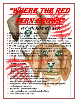 """""""Where The Red Fern Grows"""" CCSS Unit"""